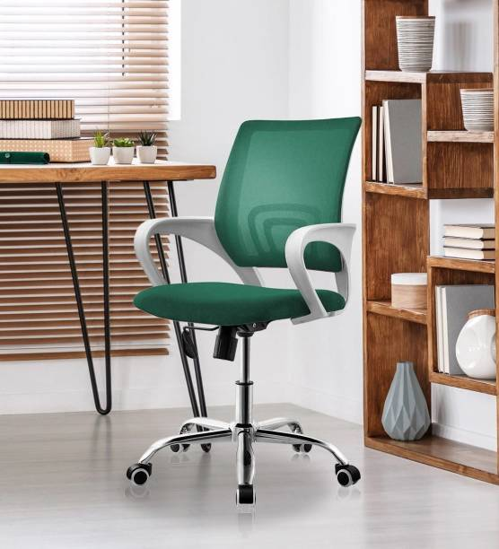 Finch Fox Low Back Ergonomic Fashionable Home / Office / Conference Room Chair Desk Task Computer Mesh Lumbar Support Swivel Adjustable Tilt Mid Back Wheel office Chair in Light Green Color Fabric Office Executive Chair