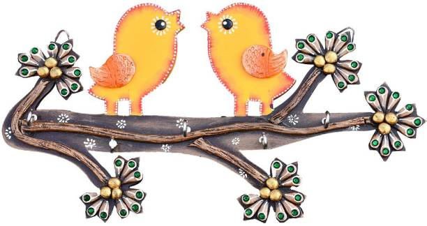 Saugat Traders Saugat Traders Decorative Handmade Wooden Pair of Love Birds Hanging Showpiece for Home Decor, Wall, Door Hanging Decoration, Balcony, Garden Decor, Showpiece for Couple, Valentine Gift Item (Pink) Decorative Showpiece  -  10 cm
