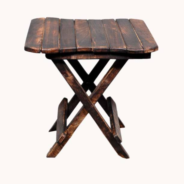Naaz Wooden Handicrafts Folding Stool for Living Room Side Table 12 Inch.(Brown) Engineered Wood Corner Table