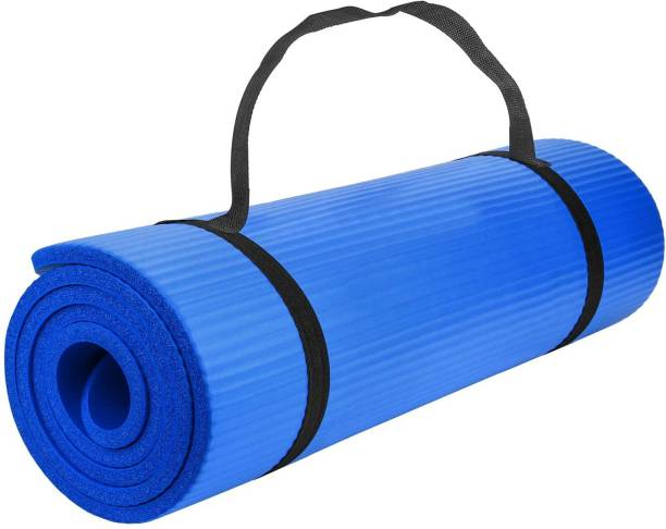 Fitness Mantra Extra Thick Anti-Skid Yoga Mat for Men & Women Fitness With Strap Blue 6 mm Yoga Mat