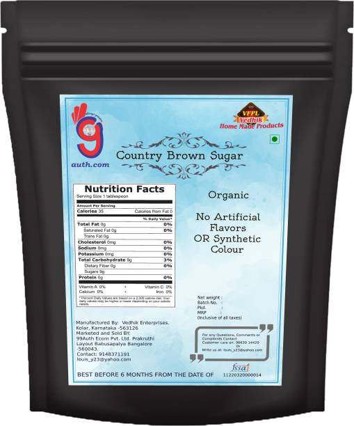 99Auth Brown Sugar Country Brown Sugar Pure Natural Organic 550g Sugar