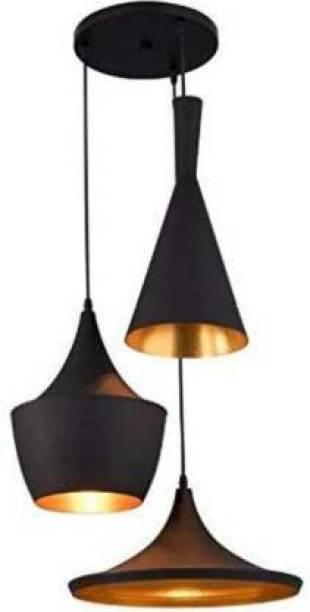 LIGHTING HOURS 3-Light Black Aluminium Shade Black cone Pendants Ceiling Lamp Pendants Ceiling Lamp