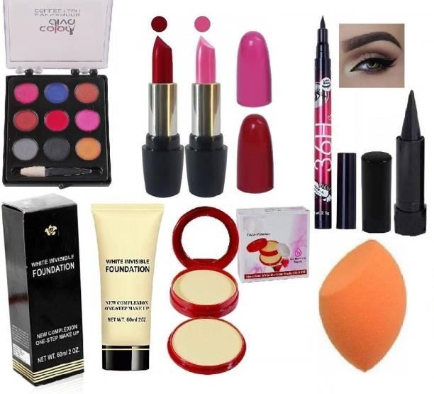 Prakritee Makeup Set Combo(9Colour Cream Eyeshadow,Pink Red Lipstick,36hrs Eyeliner,Kajal,Foundation(60ml),Compact Powder,Puff)