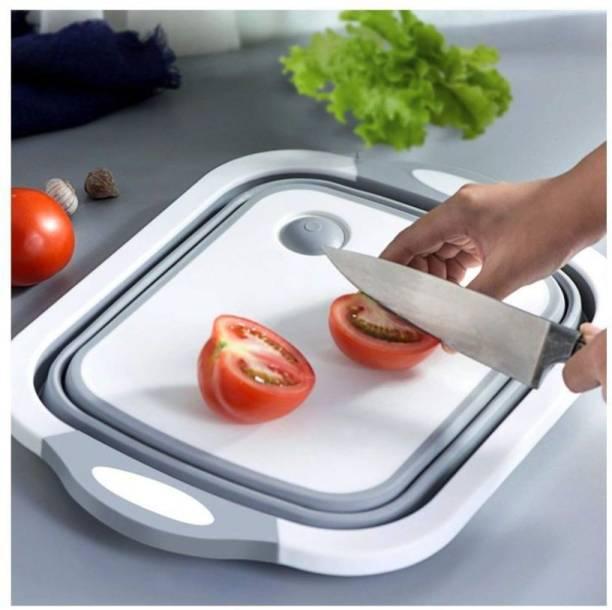 EITHEO 3 in 1 Multifunctional Kitchen Foldable Cutting,Chopping Board,Collapsible Dish Tub |Vegetable,Fruit Washing |Draining Basket with Plug |Folding Washbasin Microfibre Cutting Board