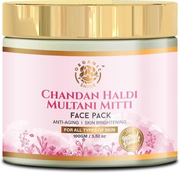 Organic Shine Natural Chandan Haldi Multani Mitti Face Pack for Anti Aging, Skin Brightening & Lightens the Skin