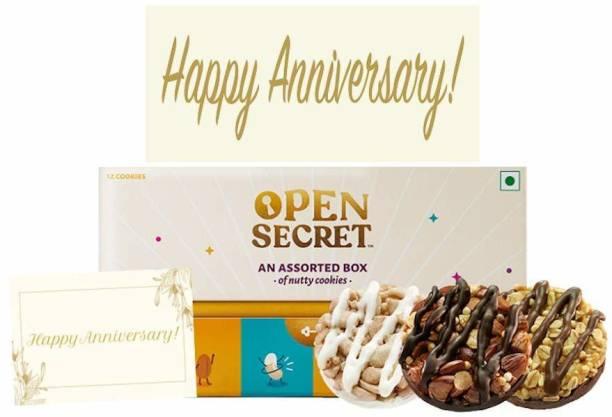 Open Secret Anniversary Hamper,12 Healthy Choco Dry fruit Cookies 1Gift Box+Card