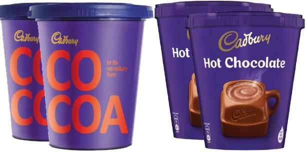 Cadbury Hot Chocolate 200 G X 2, Cocoa Powder 150 G X 2 (Pack of 4) Combo