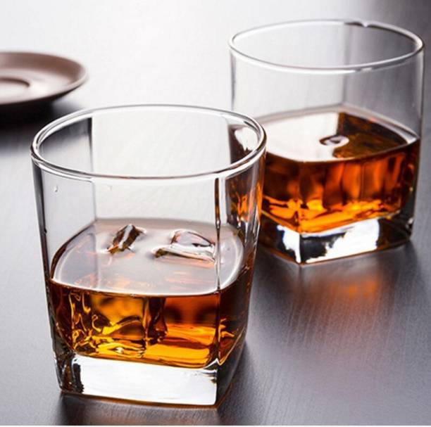 UNIQUEWARE (Pack of 6) Crystal Clear Heavy Bottom Square Shaped Juice, Water and Whiskey Glasses for Mixed Drinking Glass Set 300ml Pack of (6 pcs.) Glass Set