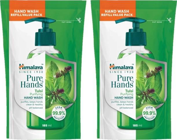 HIMALAYA Pure Hands Purifying Tulsi Hand Wash 2N 185ml Rifill Pack Hand Wash Pouch