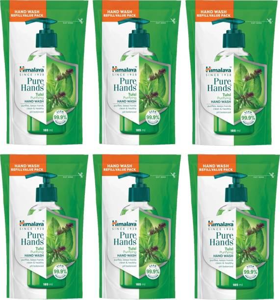 HIMALAYA Pure Hands Purifying Tulsi Hand Wash 6N 185ml Rifill Pack Hand Wash Pouch