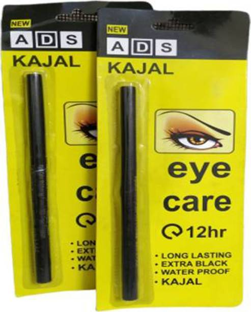 ads kajal Long Lasting Extra Black Waterproof combo pack of 2