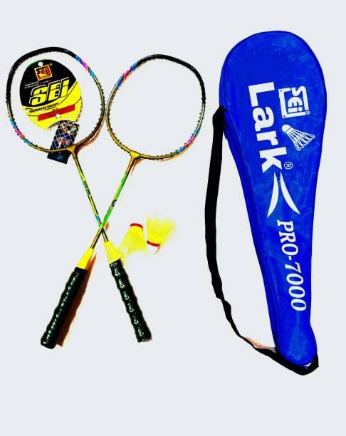 LARK Badminton Combo pair of 2 racquets + 4 pcs Shuttle cock with net Badminton Kit Badminton Kit