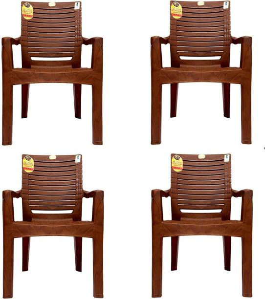 Anmol Moulded Jaguar High Back Chair Strong Structure Build Chair for Home, Garden, Office, Outdoor (Set of 4) Brown Plastic Outdoor Chair (BROWN) 3 Years Warranty Weight Bearing Capacity 200 kgs Plastic Outdoor Chair Plastic Outdoor Chair