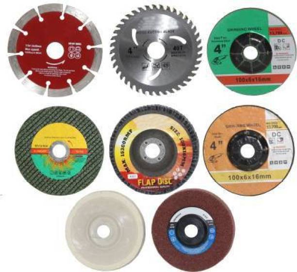 Tulsway 8Pc 4inch Angle Grinder Accessories Wood & Marble Cutting Blade Flap Discs Grinding Wheels Cut Off Wheel Set Include Flap Disc Nylon Buffing Polishing Wheel Etc Abrasive Tools Hand Tool Kit