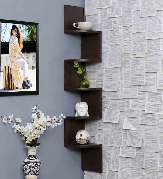 Furniture Cafe Zigzag Corner Wall Mount Shelf Unit/Racks and Shelves/Wall Shelf/Book Shelf/Wall Decoration (Walnut Finish) MDF (Medium Density Fiber) Wall Shelf