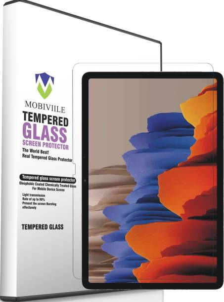 MOBIVIILE Tempered Glass Guard for Samsung Galaxy Tab S7 Plus 12.4 Inch, Samsung Galaxy Tab S7 FE 12.4 Inch
