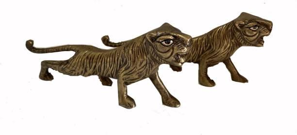 vyomika decor Pair of Jaguar Tiger Statue pair and Figurines for Home Decor Decorative Showpiece  -  7.5 cm