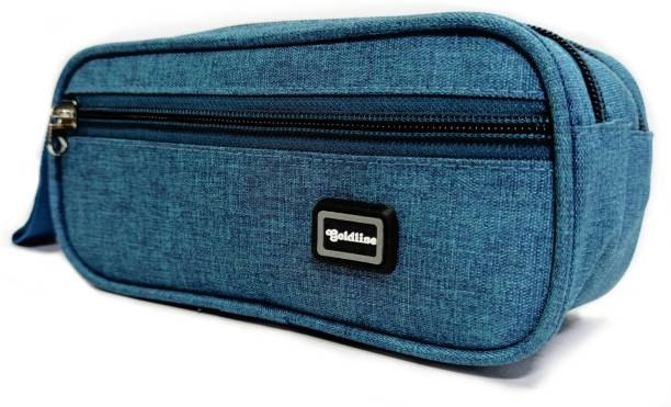 Goldline Stylish and Portable Large Stationery 2.5L Simple Pencil Pouch/Cosmetic Pouch or Desk Organizer Bag with Zipper for School, Office, Travel/Multipurpose Pouch for Girls and Boys (23x11x10 Cm) Pouch