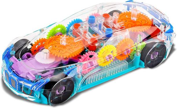 NHR Concept Musical Car and 3D Lights Kids Transparent Car, Toy for 2-5 Year Kids