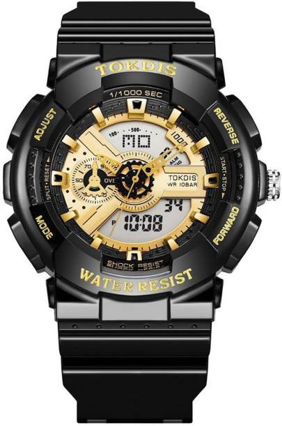 Tokdis GTX-1 Watch For Men - Premium Imported Casual Sporty Analog Digital Automatic Day and Date Function Black and Red Dial Black Synthetic Leather (Silicon) Strap watch for Men and Boys Analog-Digital Watch  - For Men
