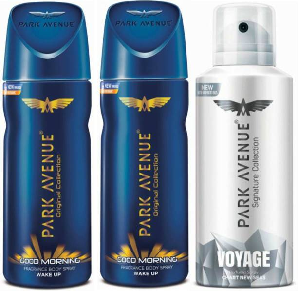 PARK AVENUE Two Good Morning, One Voyage Signature Deodorant Combo for Men(Pack of 3) Deodorant Spray  -  For Men