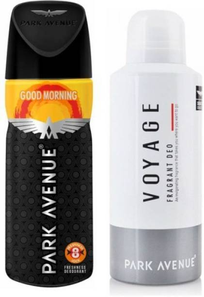 PARK AVENUE 1 Good Morning and 1 Voyage Deodorant Combo Pack of 2 Deodorant Spray  -  For Men