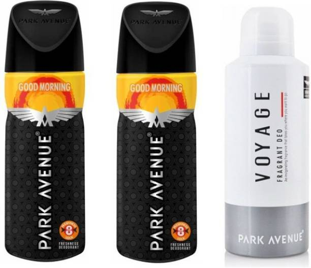 PARK AVENUE 2 Good Morning and 1 Voyage Deodorant Combo Pack of 3 Deodorant Spray  -  For Men