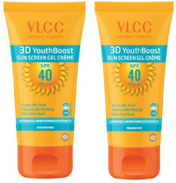 VLCC Natural Sciences, 3D Youth Boost SPF 40 (Paraben Free) Sunscreen Gel Creme, 100g X 2=200g - SPF 40 PA+++