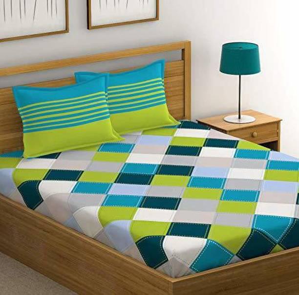 PSCHOICE 210 TC Cotton Double Geometric Bedsheet