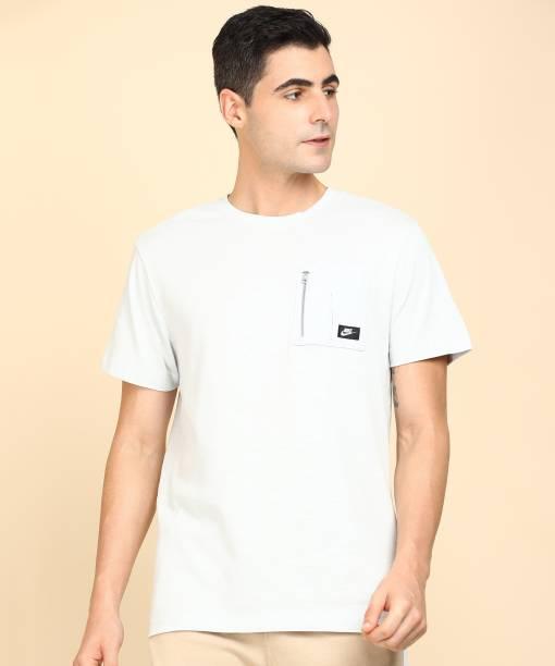 NIKE Solid Men Polo Neck Black T-Shirt