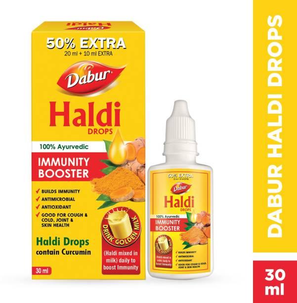 Dabur Haldi Drops- 50% Extra: Curcumin Extract for Natural Immunity Boosting & Fighting Inflammation: (20ml +10ml Free)