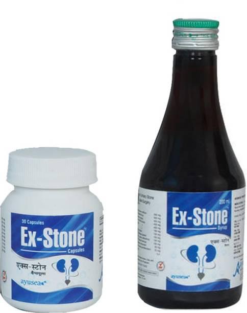 EX-STONE AYURVEDIC KIDNEY STONE CRUSHER SYRUP AND CAPSULE COMBO