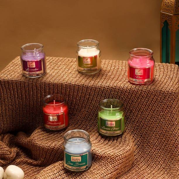AuraDecor Set of 6 Cookie Highly Fragrance Jar Candle ( Jasmine, Rose, Strawberry, Lavender, Sea Breeze, Lemon Grass ) Burning Time 30 to 35 hours Approx. Each Candle