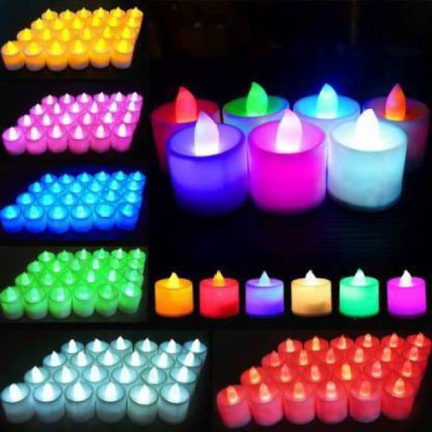 azmon Bright led (NEW)tea light candle for decoration and diwali Candle Candle (Multicolor, Pack of 12) Candle