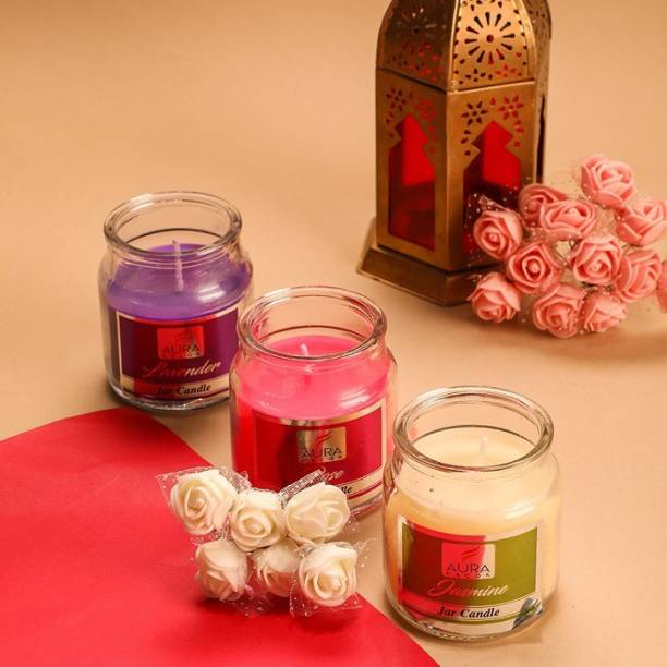 AuraDecor Set of 3 Cookie Highly Fragrance Jar Candle ( Jasmine, Rose & Lavender ) Burning Time 30 to 35 hours Approx. Each Candle
