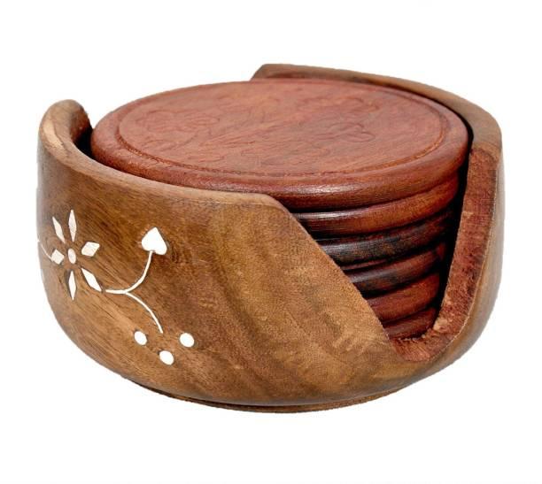 Shree Jeen Mata Enterprises Round Wood Coaster Set