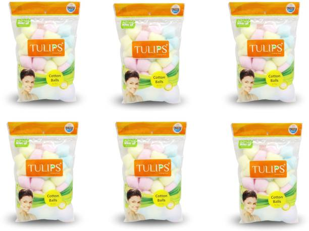Tulips 50 MULTICOLOR Premium Cotton Balls in a Ziplock Bag For Removing Nail Polish // Make Up // Applying Powder, Bronzer and Blush.