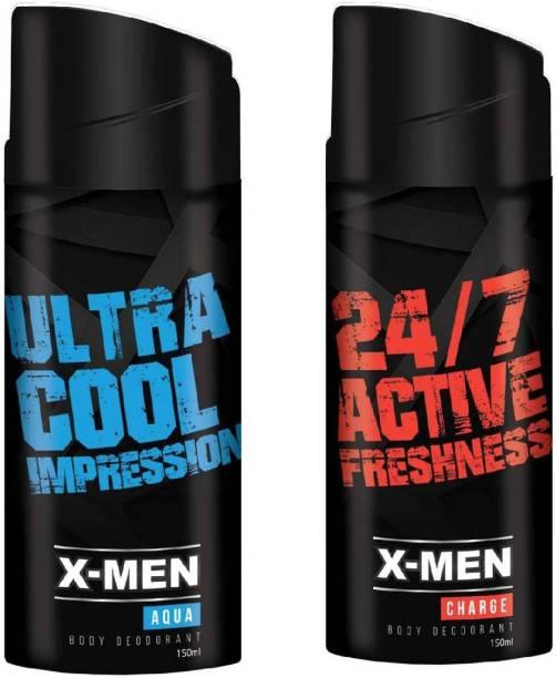 X-Men Aqua and Charge Body Deodorant Body Spray  -  For Men