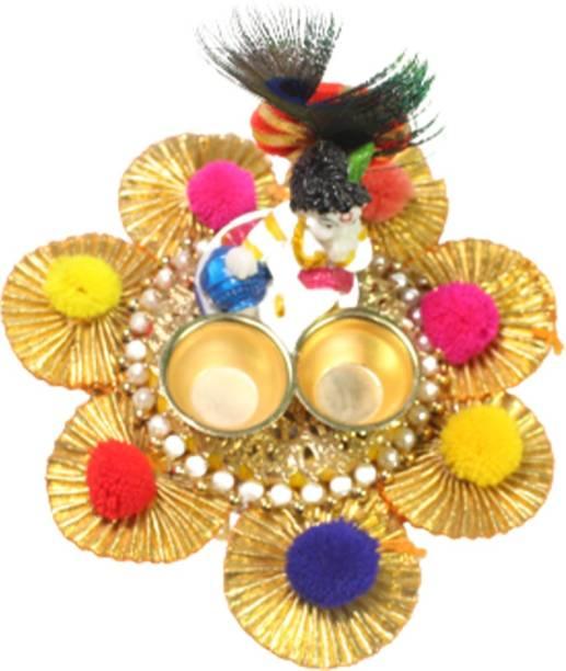KraftBugs Kraftbugs, Gold Metal Krishna Pooja plate/ diya set Iron Table Diya Set