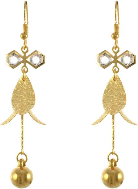One Personal Care Wind Chime Geometric Charm, Gold Bauble Diamond Studded Light Weight Party Wear Crystal Alloy Drops & Danglers