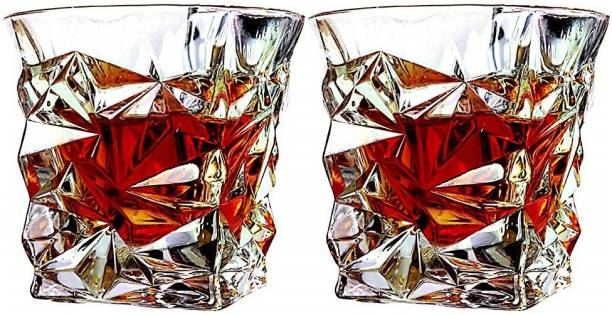 Zohica (Pack of 2) 2 pcs Crystal Cut Diamond Design Whiskey and scotch drinking Glass Set for parties and home Glass Set