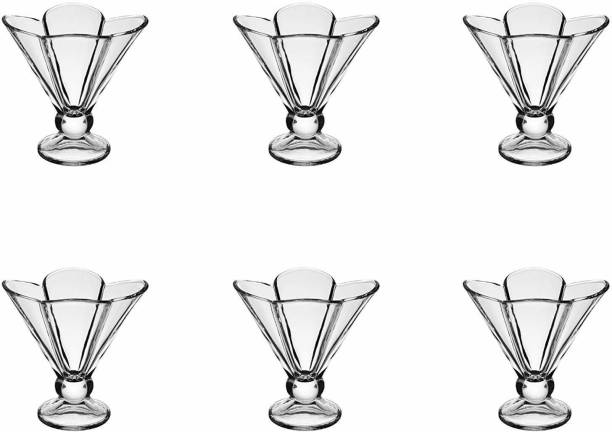 BRIGHTLIGHT (Pack of 6) Ice Cream Cups, Crystal Clear Cut Glass, Pudding Bowls, Deep Flower Shape Ice Cream Bowl, Transparent Cup, Tableware Set (Pack of 6) Glass Set