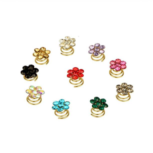 STRIPES 10 Pieces Spiral Hair Pin for Girls (Multi-color) Hair Pin