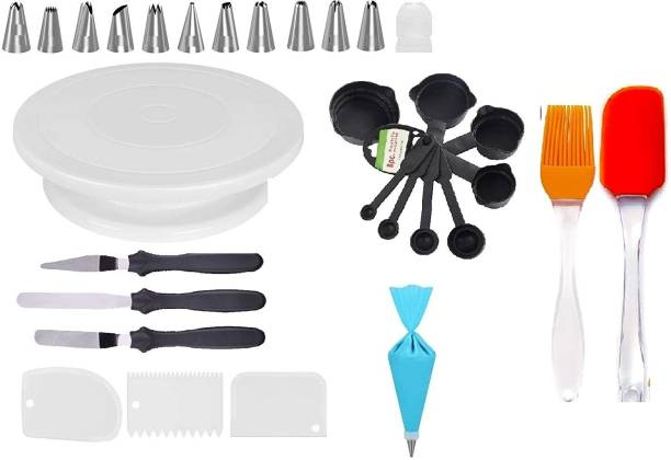 Xacton cakecombo11 Xacton Cake Decorating Kits Cake Turntable, 12 Numbered Cake Decorating Tips, 1 Icing Spatula, 3 Icing Smoother, 1 Silicone Piping Bag, Measuring Spoons & Cup Set of 8, Brush Spatula and 1 Coupler Multicolor Kitchen Tool Set