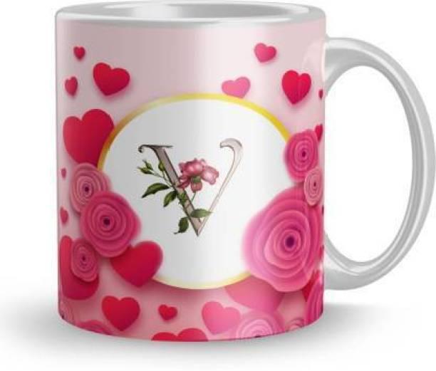 zivam Letter V Alphabet Best Gift for Boy Friend Special Birthday Gift For Girlfriend Ceramic (320 ml) Ceramic Coffee Mug