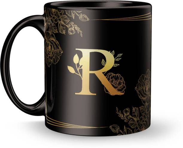 Earnam Letter R alphabet Gift for Special Design Printed Black Ceramic Ceramic Coffee Mug