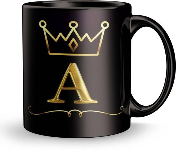 Earnam Letter A alphabet Gift for Birthday Design Printed Black Ceramic Ceramic Coffee Mug