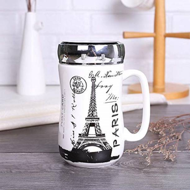 Upscale kraft designed Ceramic Coffee With Mirror Lid - 1 Piece Ceramic Coffee Mug
