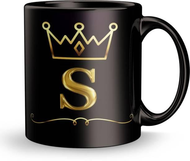 Earnam Letter S alphabet Gift Design Printed Black Ceramic Ceramic Coffee Mug