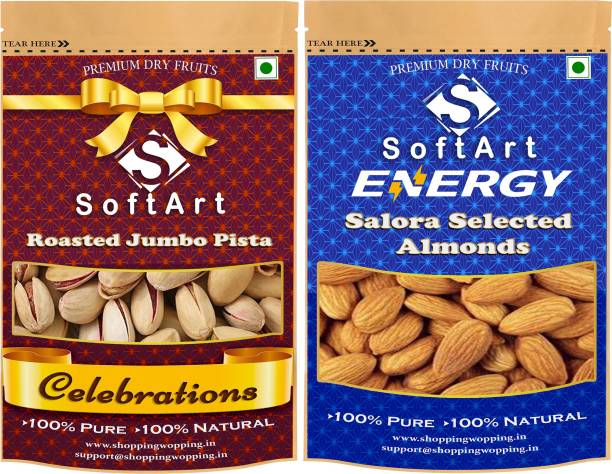 Soft Art Dry fruits combo of Roasted Pista With Shell & Salora Selected Almonds (Badam) (100g Each) Pistachios, Almonds